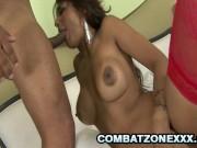 Paola - Latina Babe Choking On Thick Latino Cock