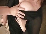 Masked milf groped then suck and fuck with cum on big boobs