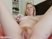 Big titty blonde sharing her hairy pussy Kierra Wilde