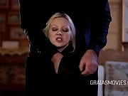 Blonde slave tits squeezed