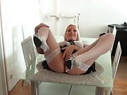 Amazing German Blonde with Big Tits Takes Hot Creampie