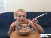Sexy Nadia eats cereal filled with soldiers