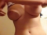 Sexy blonde with big tits riding the dildo hard for me