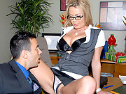 Sexy ass big tits blonde loan officer babes agrees to cut the check for a hot cock sucking and pussy fucking againt the desk in this hot fucking reality porn movie